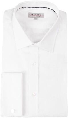 Alexandre Arnie Tailored Fit White Jacquard Shirt