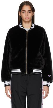 Champion Reverse Weave Black Teddy Bomber Jacket
