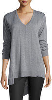 Vince Camuto Ribbed Long-Sleeve Asymmetric Top, Steel Heather