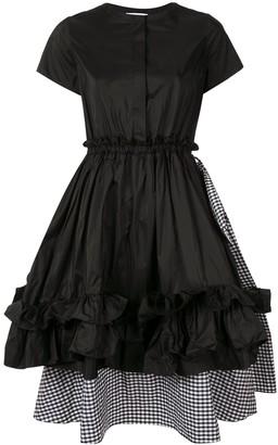Dice Kayek Layered Checked Ruffle Dress