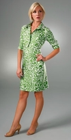 Milly Jungle Leaf Button Shirtdress