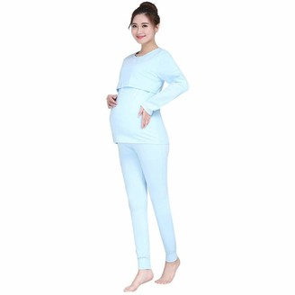 Gaga City Breastfeeding Pyjamas for Women Maternity Nursing Pajama Set Pregnancy Sleepwear Cotton Tops and Pants Set Autumn Winter Nightwear for Labour Hospital/4XL Blue