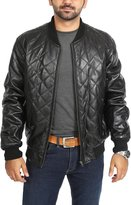House of Leather Mens Quilted Classic Bomber Baseball Real Leather Jacket 'VIN-DIESEL' (L)