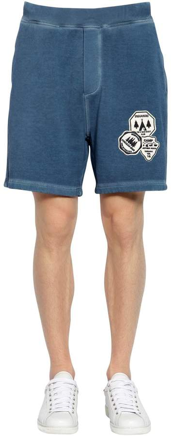 DSQUARED2 Camping Patch Cotton Jersey Sweat Shorts