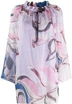 Emilio Pucci peony print ruffled neck blouse