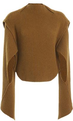 Victoria Beckham Cutout Ribbed-Knit Mockneck Wool-Blend Sweater