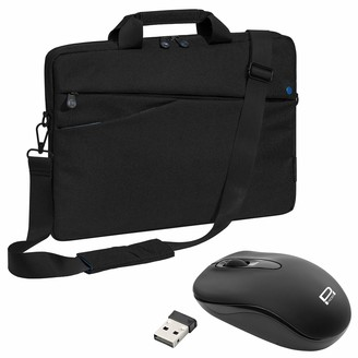 "PEDEA""Fashion"" Laptop Bag up to 17.3 Inch Shoulder Bag with Shoulder Strap and Wireless Mouse - Black/Blue"