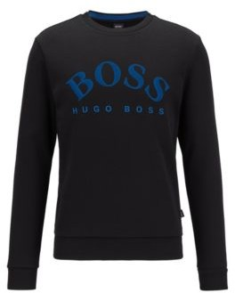 HUGO BOSS Crew Neck Sweatshirt With Contrast Logo Print - Black