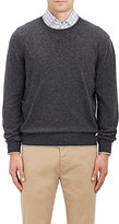 Barneys New York MEN'S TIPPED CREWNECK SWEATER-DARK GREY SIZE L