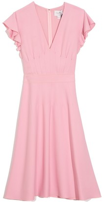 Giambattista Valli Flutter Short Sleeve V-Neck Dress in Rosa Pink