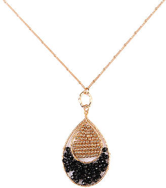 Riah Fashion Women's Necklaces Black - Black & Goldtone Beaded Pendant Necklace