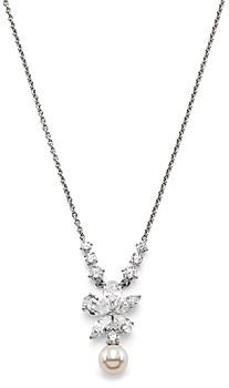 Nadri Leilani Cubic Zirconia Flower & Imitation Pearl Pendant Necklace, 16-17