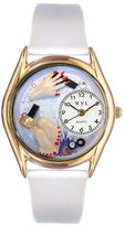 Whimsical Watches Women's C0630003 Classic Gold Nail Tech White Leather And Goldtone Watch