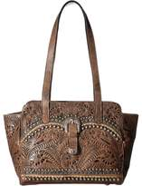 American West Blue Ridge Zip Top Tote w/ Secret Compartment Tote Handbags
