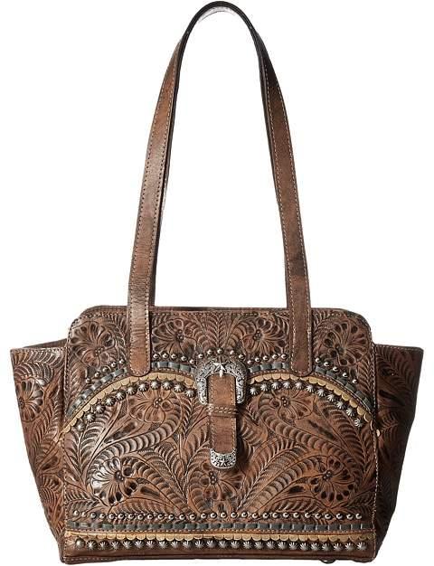 American West Blue Ridge Zip Top Tote w/ Secret Compartment Tote Handbags