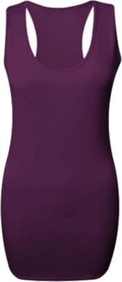 ZET Ladies Plus Size Plain Long Bodycon Racer Back Muscle Vest Womens Sleeveless Maxi Gym Top 8-26