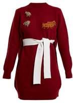 Toga Round-neck bead-embellished wool-blend dress