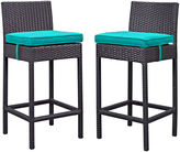 One Kings Lane Turquoise Lift Outdoor Barstool, Pair