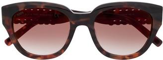 Tod's Stitch Detail Tortoiseshell Sunglasses