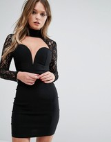 Rare London Sweetheart Bodycon Dress With Lace Sleeve