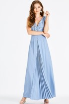 Little Mistress Alexina Blue Lace Plunge Maxi Dress
