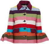 Mary Katrantzou Cuckoo Cropped Striped Wool-blend Twill Jacket - Burgundy