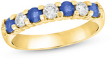 Zales Blue Sapphire and 1/3 CT. T.W. Diamond Seven Stone Wedding Band in 14K Gold