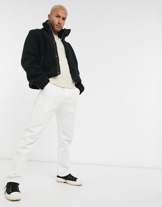 ASOS DESIGN cropped borg jacket in black