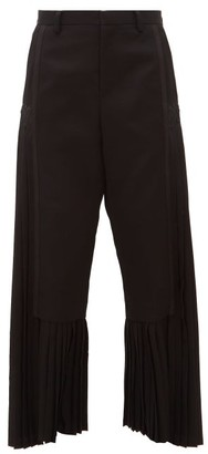 Noir Kei Ninomiya Pleated-panel Wool-crepe Trousers - Black