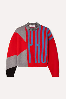 Proenza Schouler Pswl Cropped Color-block Jacquard-knit Sweater - Red