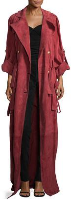 Balmain Long Suede Coat