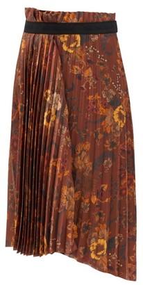 Balenciaga Floral-print Pleated-jersey Midi Skirt - Brown Print
