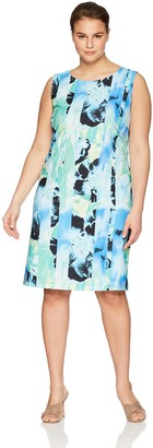 Kasper Women's Size Plus Sleeveless SEA Waves Printed Crepe Dress