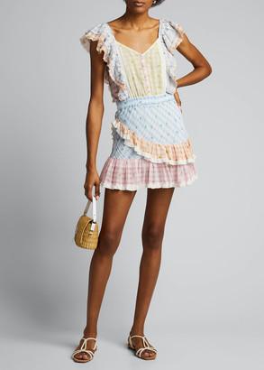 LoveShackFancy Leon Mixed Check Ruffle Mini Dress