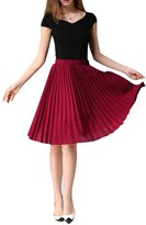 WEHOPS Women's Chiffon Pleated Skirt Knee-Length A-line Casual Wear Office Skirt