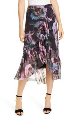 Fuzzi Floral Ruffle Asymmetrical Mesh Skirt