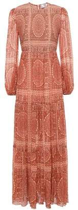 Zimmermann Primrose Shirred Printed Cotton And Silk-blend Maxi Dress