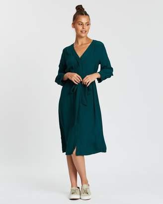 Gap LS V-Neck Midi Shirt Dress