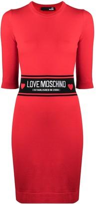 Love Moschino Logo Waist Knitted Dress