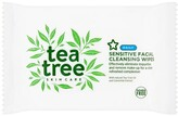 Superdrug Tea Tree Facial Cleansing Wipes Sensitive 25