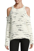 Design Lab Lord & Taylor Marled Knit Cold-Shoulder Sweater