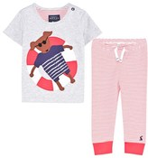 Joules Grey Dog Applique Tee and Bottoms Set