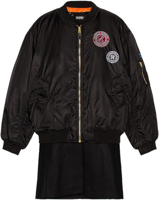 Raf Simons Nylon Patched Bomber With Wool Elongation in Black   FWRD