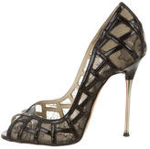 Brian Atwood Lace Peep-Toe Pumps