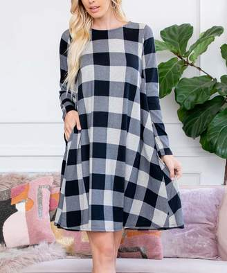 Buffalo David Bitton Riah Fashion Women's Casual Dresses Oatmeal - Black & White Plaid Pocket-Accent Shift Dress - Women