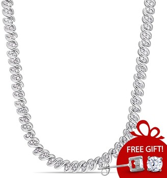 Miadora Sterling Silver 2ct TDW Diamond Twisted Tennis Necklace - 17 in x 5.1 mm - 17 in x 5.1 mm