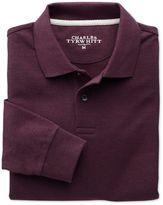 Charles Tyrwhitt Dark Red Pique Long Sleeve Cotton Polo Size XS