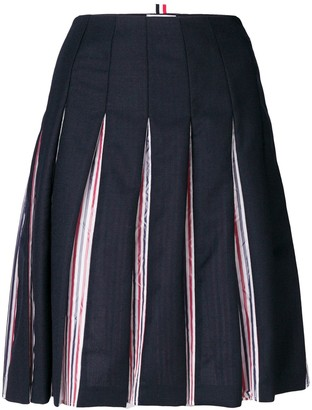Thom Browne Tricolour Lined Pleated Skirt