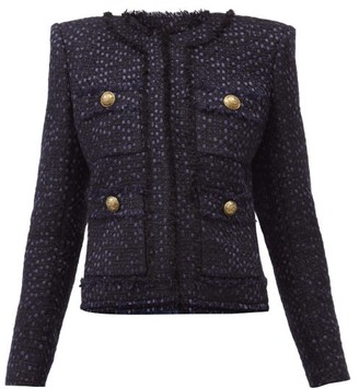 Balmain Collarless Tweed Jacket - Navy