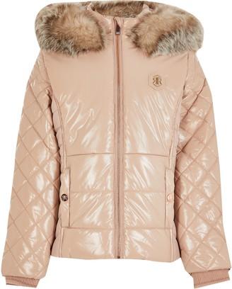 River Island Girls Pink high shine padded jacket